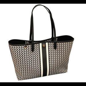 Tory Burch T Tile Black/White/Gray Tote Bag